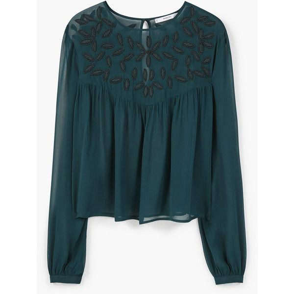 Beaded Chiffon Blouse ($71) ❤ liked on Polyvore featuring tops, blouses, embellished tops, chiffon top, long sleeve blouse, embellished blouses and round top
