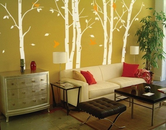 Thin birch trees (white) $105: Wall Art, Wall Decor, Birches Trees, Living Room, Trees Decals, Vinyls Wall Decals, Trees Paintings, Wall Stickers, Trees Wall Decals