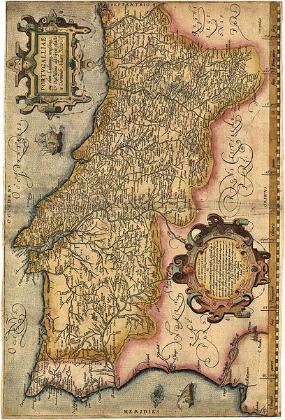 """Português: Portugalliae que olim Lusitania, novissima & exactissima descriptio. [2] é provavelmente o primeiro mapa de Portugal. Feito por Álvaro Seco é provavelmente publicado em Roma por volta de 1560 com o título """"Tabula Geografica Portugalliae"""". O Mapa de Portugal Portugalliae foi copiado no atlas """"Theatrum Orbis Terrarum"""" de Abraham Ortelius e editado em 1570 na Antuérpia."""