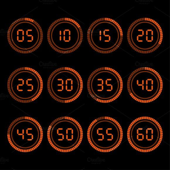 Digital countdown timer by Vector Shop on @creativemarket