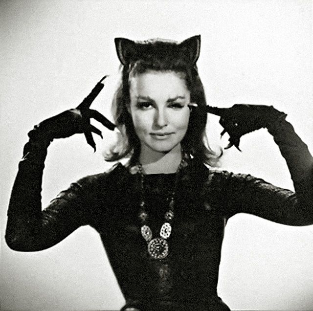 The Original Catwoman, Julie Newmar — I always always played her on the playground in fourth grade and my chubby Hawaiian friend, Ken, played Batman. We had very good imaginations . . ..