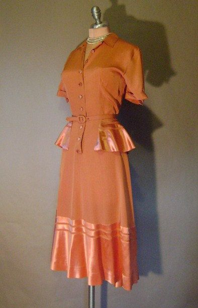 40s dress 1940s vintage COPPER SPICE SATIN persimmon crepe peplum Holiday cocktail party dress