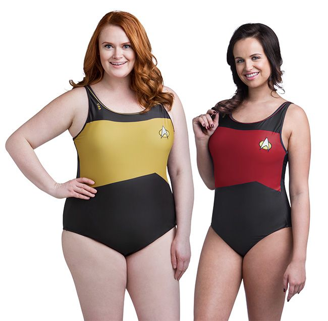 Whether your destination is the ocean world of Pacifica, the pristine beaches of Risa, or your local Y, take the plunge with these Star Trek:TNG One-Piece Swimsuits modeled after the ST:TNG uniform. Choose Blue, Gold, or Red, whichever suits you.