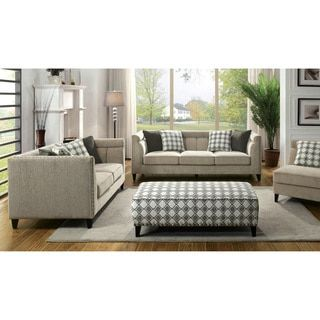 Shop for Furniture of America Luxden Contemporary 3-piece Tuxedo Style Brown Linen-like Sofa Set. Get free delivery at Overstock.com - Your Online Furniture Shop! Get 5% in rewards with Club O!