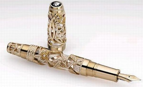 "Limited-Edition-Boheme-Papillon-Pen: ""The Limited Edition Boheme Papillon Pen comes in a set of 6 pieces, 3 of which were made using yellow, white and rose gold. These 3 stunning pens are decorated extensively with 1,402 Wesselton diamonds and 37 sapphires, while the other 3 are adorned with 840 diamonds and 591 sapphires!"" Price tag:$244,000 dollars!)"