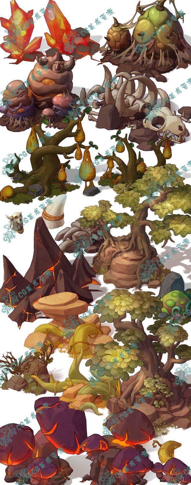320 游戏美术资源 手绘横版 地图拼图...@good~猫宁采集到游戏原画Q版写实角色横版地图日韩中国风(217图)_花瓣游戏