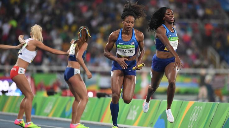 GOLD a 2nd Time For USA's Francena McCorory! Former Bethel and Hampton University track star Francena McCorory (handing off to Phyllis Francis during the SFs Heat) helped lead the USA women's 4x400 Relay team into Saturday's FINALS where Team USA scored GOLD in Rio.  8/19/16