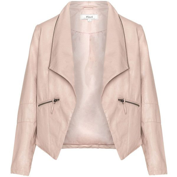 Zizzi Pink Plus Size Zip collar leather biker jacket ($105) ❤ liked on Polyvore featuring outerwear, jackets, pink, plus size, pink moto jacket, biker jacket, motorcycle jacket, moto jacket and plus size jackets