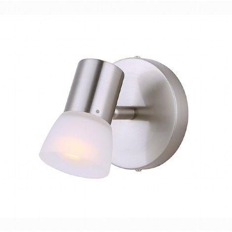 Luminaire directionnel simple argent brossé avec verre blanc.
