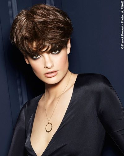 *Smoking Couture* A very feminine, short cut: the length is retained on the top of the head to create rounded volume, in contrast with the sides and back of the neck. Very naturally styled using the fingers and Franck Provost Matt Effect Paste to structure the hair whilst retaining its softness.