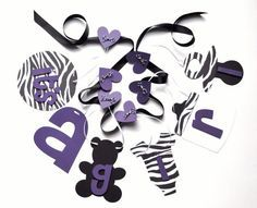 Zebra Baby Shower Decorations Purple And Black Itu0027s A Girl Banner By  ParkersPrints On