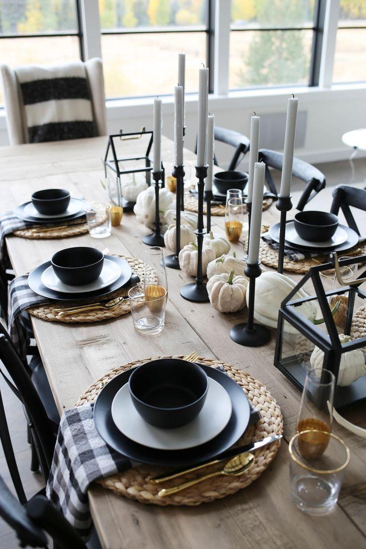 Modernes Bauernhaus Herbst Tablescape Geistige Yogi Diana Hanft Fall Farmhou Neue Deko Ideen In 2021 Fall Dining Room Dining Table Decor Autumn Dining