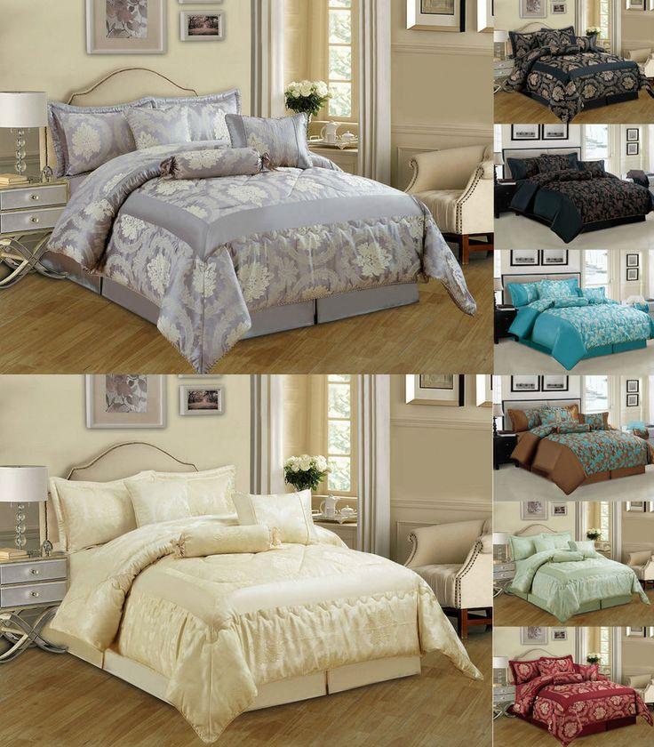 Jacquard 7 Piece Luxury Bedspread comforter set Bedding + Matching Cushion Cover