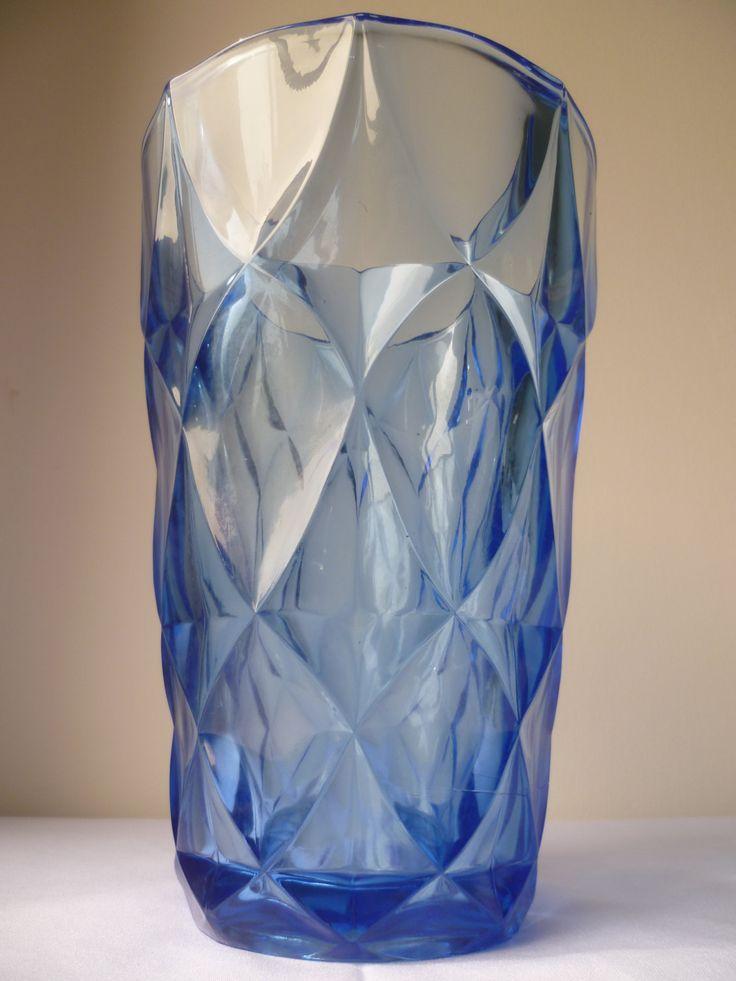Large Art Deco 1920 -1930 blue geometric flower vase by MWKIRKonETSY on Etsy