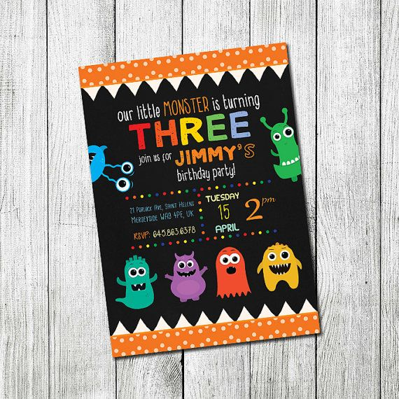 Monster Birthday Invitation Little Monster Boy by CutePaperStudio
