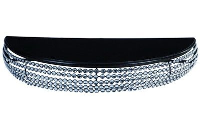 RECIBIDOR DE PARED CON CRISTALES. Consola negra metálica con cristales