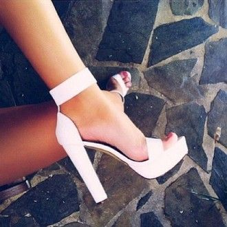 shoes white sandals heels white thick heel classy fancy fashionista strap heels strappy heels classic heels dressy perfect white high heels high heels cute high heels high heel sandals spring break style fashion white heels sandals chunky heels
