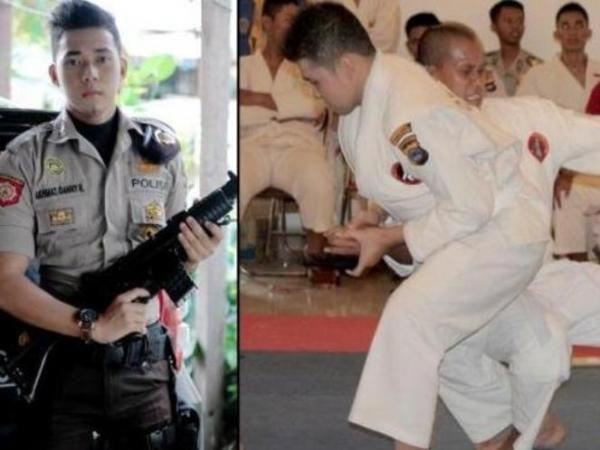 Juara Judo, Polisi Ganteng Ini di Kelilingi Model Cantik