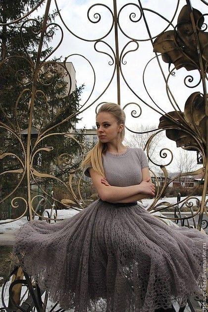 "Юбка ""Царевна"" - серый,юбка,вязаная юбка,юбка спицами,пышная юбка,мохер на шелке"