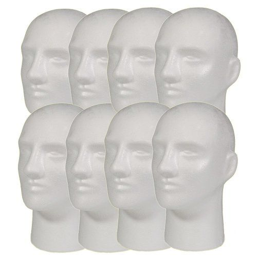 """NEW 8pc Male 11"""" STYROFOAM FOAM MANNEQUIN MANIKIN head wig display hat glasses *** Find out more details @ http://www.amazon.com/gp/product/B00KGIP7U4/?tag=beautycare888-20&pef=060816103339"""