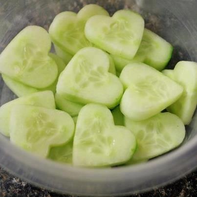 Cucumber Hearts - Share a little LOVE in your kitchen by peeling your cucumber and using a cookie cutter in a <3 shape. Great for lunch boxes and special occasions. | The Micro Gardener
