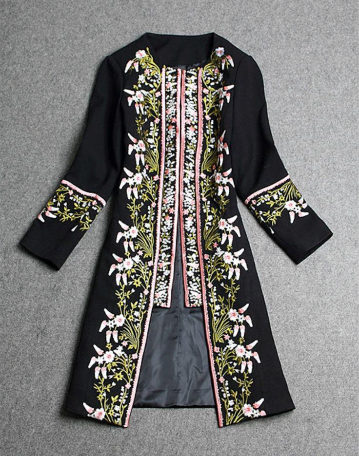 Runway 2016 Winter Women Woolen Long Jacket Chinese Retro Embroidery Elegant Slim Outerwear O Neck Wool Feminine Overcoat S-3XL