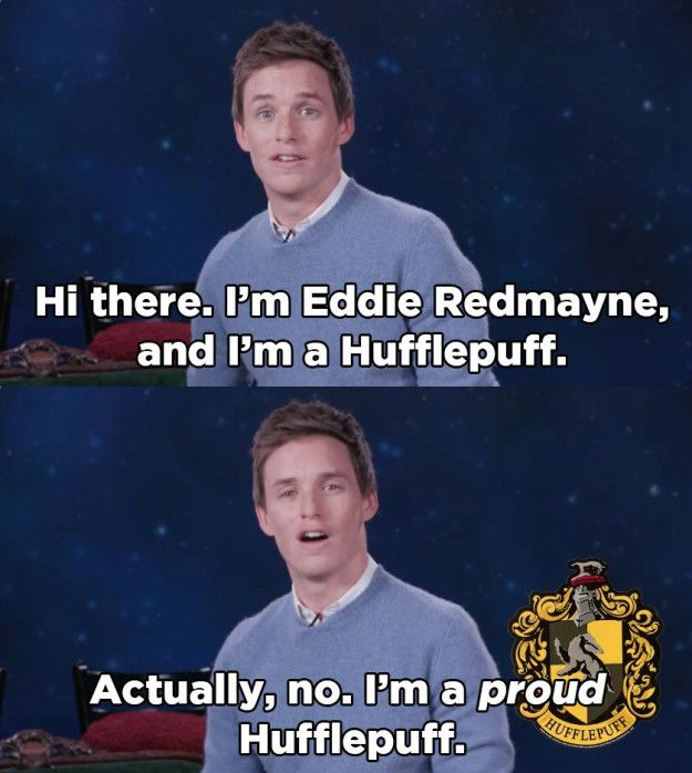 And now Eddie has teamed up with MTV (Muggle TV, probably) to make a public service announcement, rallying against the unfair treatment of Hufflepuffs everywhere.