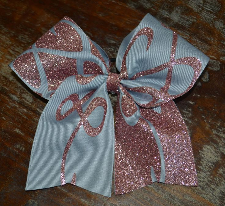 Rose Gold and Gray Swirl Cheer Bow / Softball Bow by AminaCrafts on Etsy