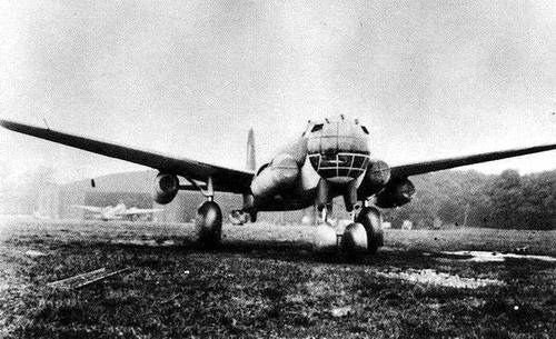 Junkers Ju 287 Prototype.  The first prototype was intended to evaluate the concept, and was cobbled together from the fuselage of an He 177 A-5, the tail of a Ju 388, main undercarriage from a Ju 352, and nosewheels taken from crashed B-24 Liberators. Two of the Jumo 004 engines were hung under the wings, with the other two mounted in nacelles added to the sides of the forward fuselage.