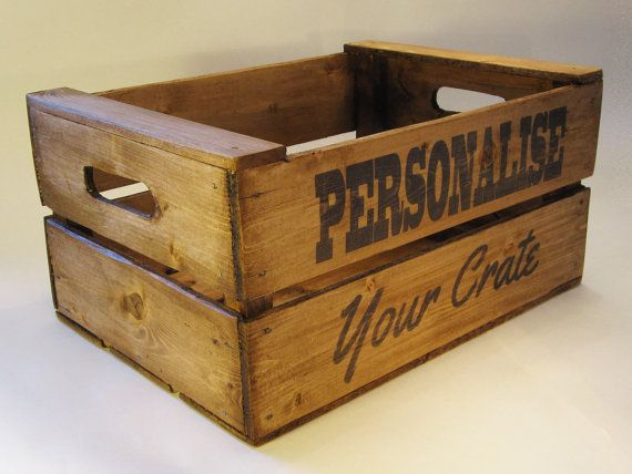 Personalised Wooden Crate uk Handmade Vintage Style by Deadraven Co