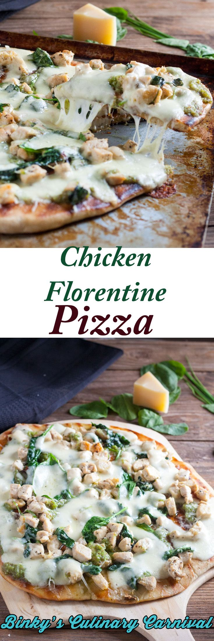 This Thin Crust Grilled Chicken Florentine Pizza has Garlic Scape Pesto for the sauce! #ifbcx