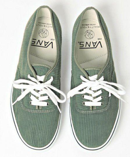 green, corduroy vans.