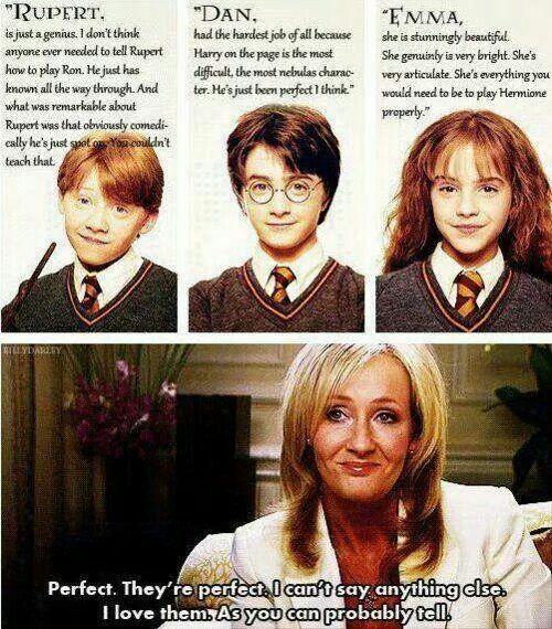 Jk Rowling onnharry potter stars