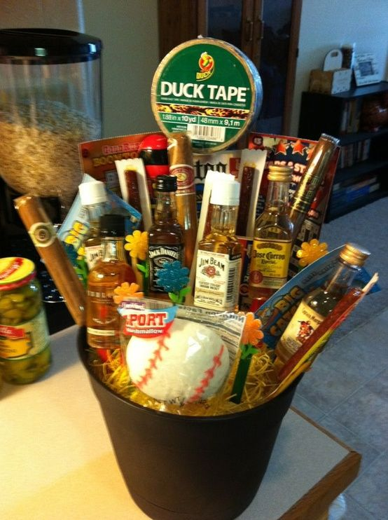 "The man bouquet!!! SAVING THIS FOR VALENTINES :) It includes various bottles of alcohol, cigars, jerky, duck tape, scratch-offs ect. Need to make a secret ""gift"" board"