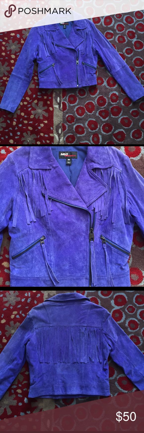 Purple suede fringe Miss Sixty jacket Bright purple suede fringe jacket. Miss Sixty. Size M. Excellent condition. Never worn! Miss Sixty Jackets & Coats