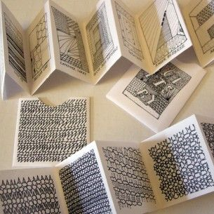 small accordion books by artist Brooke Appler http://www.etsy.com/shop/teambluebicycle  http://www.etsy.com/shop/teambluebicycle #drawings