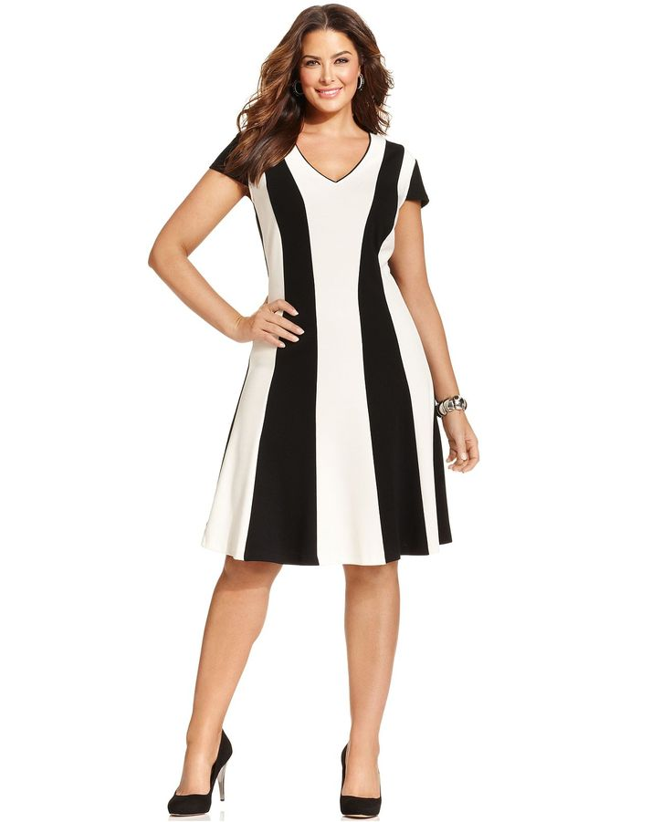 Spense Plus Size Short-Sleeve Striped Dress - Plus Size Dresses - Plus Sizes - Macy's