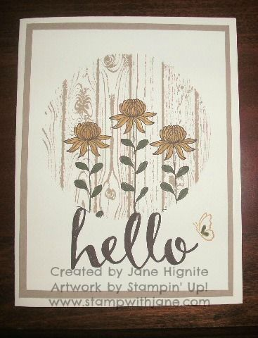 Stampin' Up! Hardwood background stamp, Flowering Fields Sale-A-Bration stamp set, Hello Sale-A-Bration stamp set, Circles Framelit, masking techniques, stamped cards, stamping, masked backgrounds, quick and easy cards, Spring cards, thinking of you cards, get well cards, www.stampwithjane.com