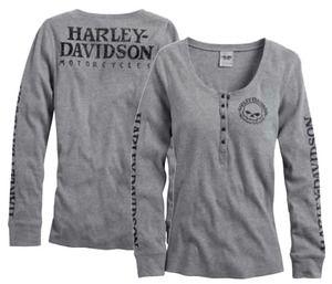 Harley-Davidson® Womens Skull Snap Front Long Sleeve Henley - 99143-14VW