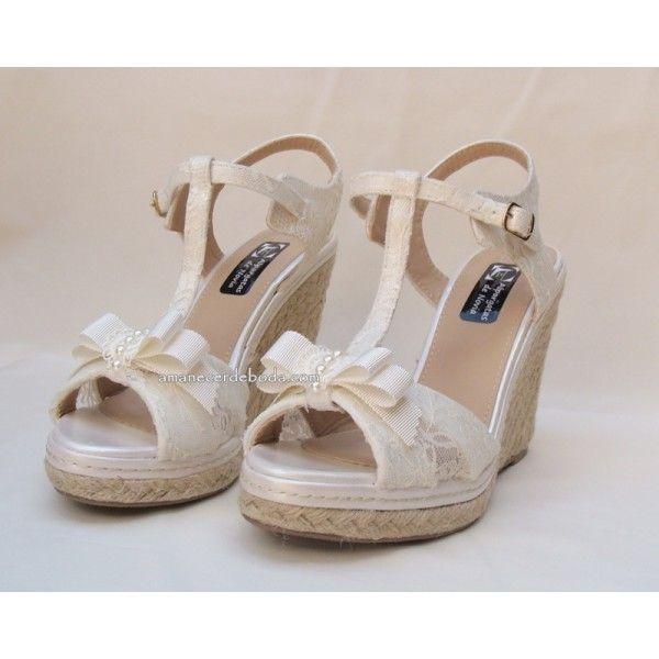 c37d8942 Cuñas de novia baratas con plataforma delantera forradas en encaje |  Clothes/shoes in 2019 | Cuñas novia, Zapatos de novia, Zapatos de boda