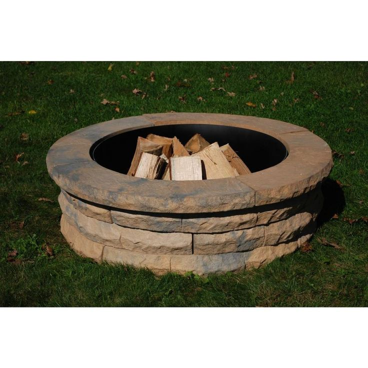 Nantucket Pavers Ledgestone 47 in. Concrete Fire Pit Ring Kit Tan Variegated-72004 - The Home Depot