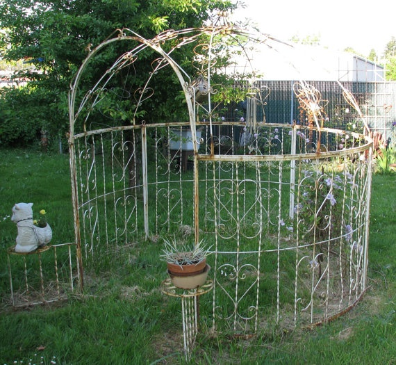 Vintage White Wrought Iron Gazebo. Chippy by FrontStreetAntiques, $1500.00 - 38 Best Images About Wrought Iron Gazebos On Pinterest Diy