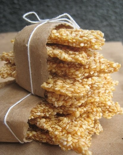 Simple Homemade Sesame Snaps.. Honey, sugar and sesame seeds.. (could add other nuts or ginger too)