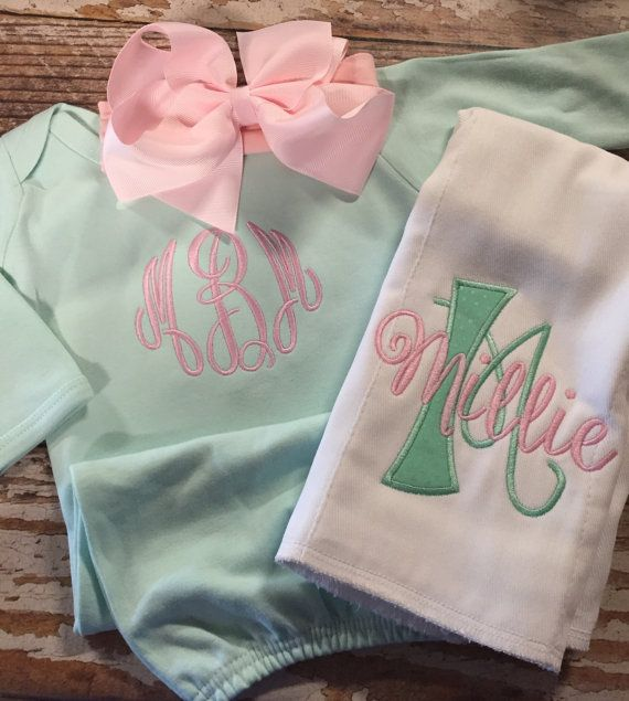 Baby girl coming home outfit, Monogrammed mint gown with matching bow, newborn coming home outfit, personalized baby shower gift, embroidery