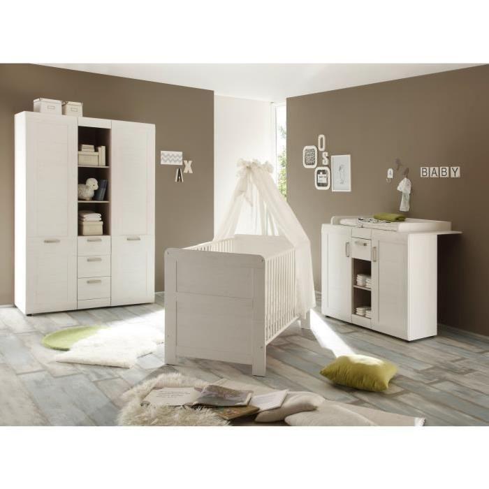 Avec 1 armoire 2 portes, 1 lit 70 x 140 cm et 1 commode à langer - Mixte - Dès la naissance - Livré à l'unité