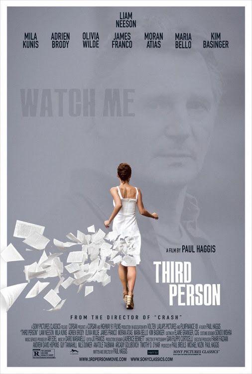 En tercera persona (2013)  Hoy os traigo una sugerencia, haber si os gusta. Que tal si esta tarde vemos una peli del director Paul Haggis y como actor principal a Liam Neeson. El romance y el drama están asegurados. Seguro que pasáis una buena tarde como mínimo entretenida.