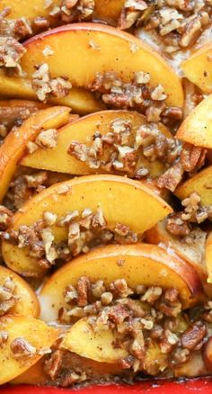 Peaches and Cream French Toast Casserole Recipe ~ simple overnight french toast casserole with fresh peaches and a buttery, brown sugar and pecan topping