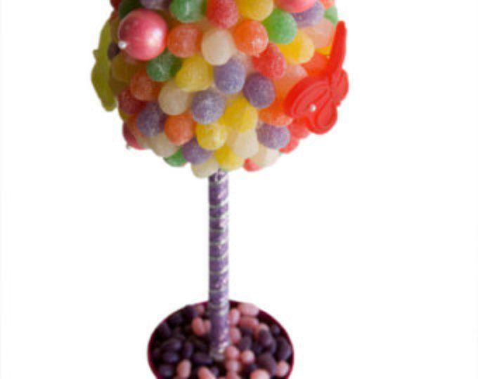 Arco iris mariposa Candy Land central Topiary, decoración de Buffet de dulces, dulces arreglo boda, Mitzvah, caramelo creación, arte comestible