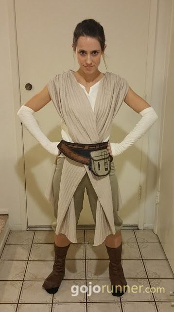 "Rey from ""The Force Awakens"" running costume for the Disneyland Half Marathon / 10K / 5K (runDisney). I bought a Rey costume on Amazon, added shoe covers, sewed some criss-crossing material on the back (it only came with material on the front), and it worked great for the 2016 Star Wars 10K."