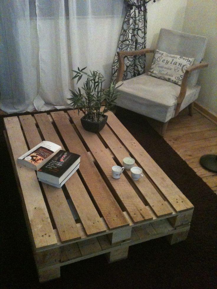 """Mi mesa de pallets """"encontrados"""" en estacionamiento Easy, sillón de mi abuelita restaurado"""